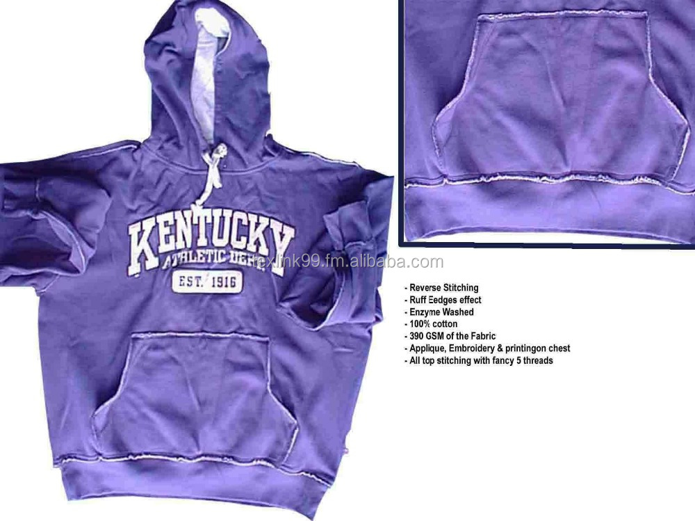Hoodies sweatshirt/washed & torn effect hoodies, team wear, sporty, large embroidery/print chest