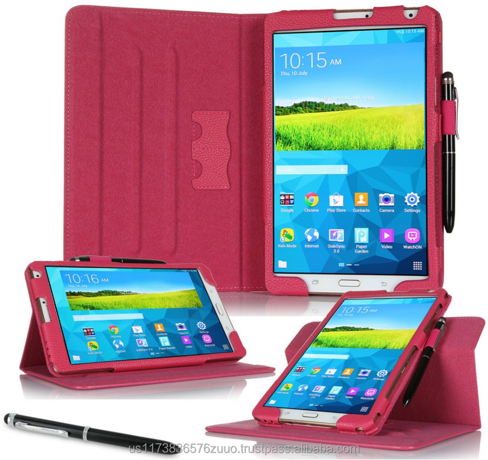 Dual View Slim Fit Premium PU Leather Folio case cover, detach inner sleeve for Galaxy Tab S 8.4 roocase (Magenta)