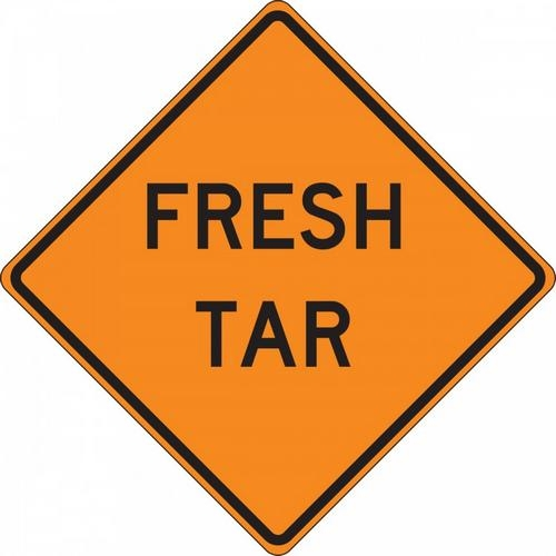 "Accuform FRC322MV, 36"" x 36"" Mesh Vinyl Roll-Up Construction Sign with Legend: ""Fresh Tar"""