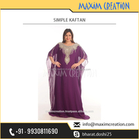 New Georgette Islamic Arabian Fancy Purple Kaftan Available at Attractive Rate