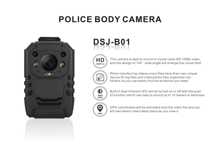 HDMI HD WiFi option police body video Camera built-in GPS