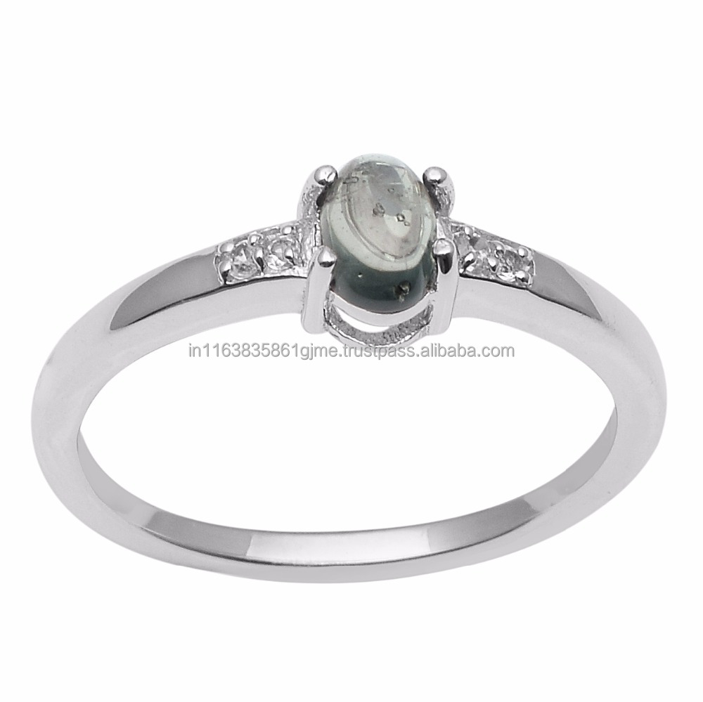 New Latest Green Tourmaline White Topaz Anniversary 925 Sterling Solid Gemstone Silver Jewelry Women Ring