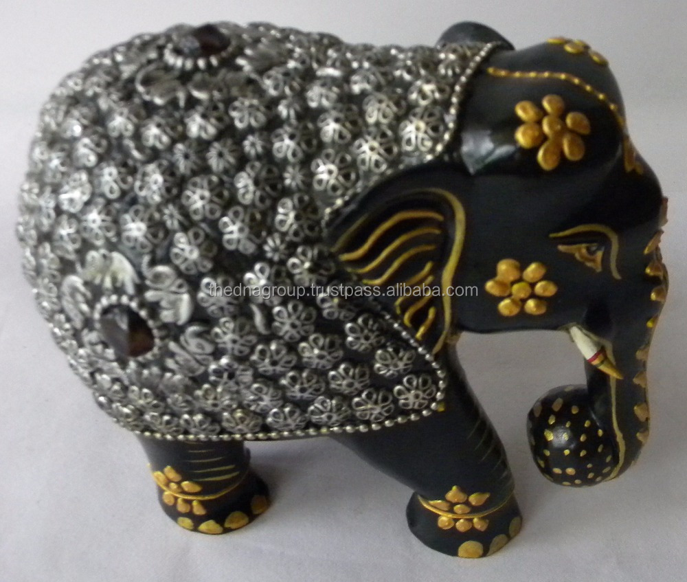 Wood Elephant Sculpture with Hand Painting- Hand Elephant Figurine - Elephant with Silver Metal Work - Easter Gift