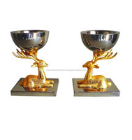 Double wall SS storage bowl with deer decoration base, Decoration bowl set