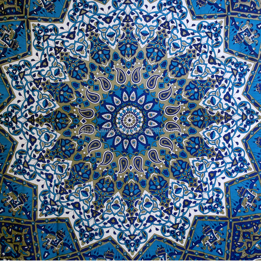 New Design Handmade Star Paisley Blue Wall Hangings Boho Gypsy Indian Tablecloth Wholesale Carpet Wall Tapestry