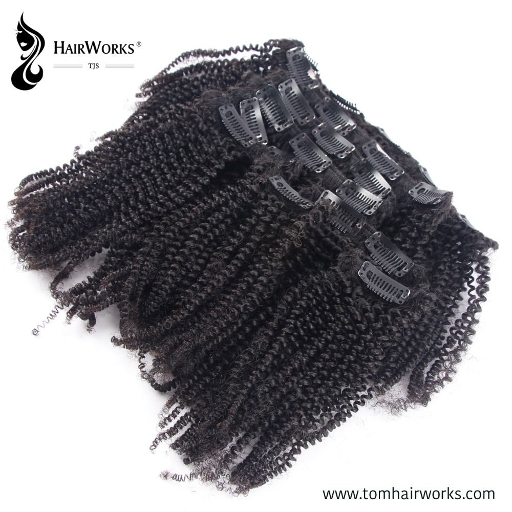Afro kinky curly custom order heavy unit weight 100% virgin Remy Peruvian hair clip in hair extensions