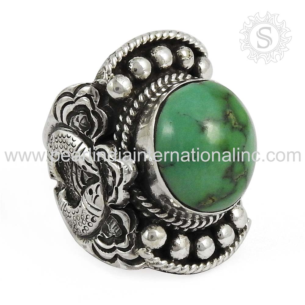 famous Design Turquoise Gemstone Wedding Ring Wholesale Silver Jewelry Supplier 925 Sterling Silver Jewellery From Jaipur