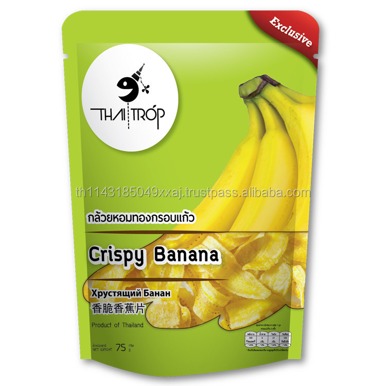 ThaiiTrop - Thai Snack Crispy Fried Banana Chips Processed Fruit 75g