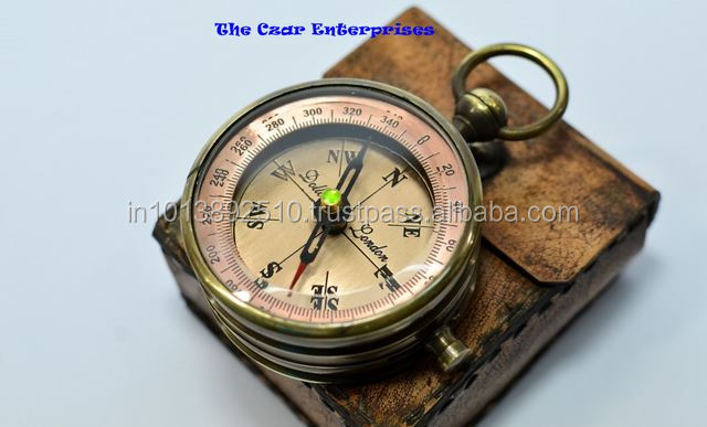 Dollond london poem compass big compass copper dial compass with leather case