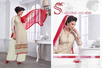 Lace designer white colour straight long salwar kameez