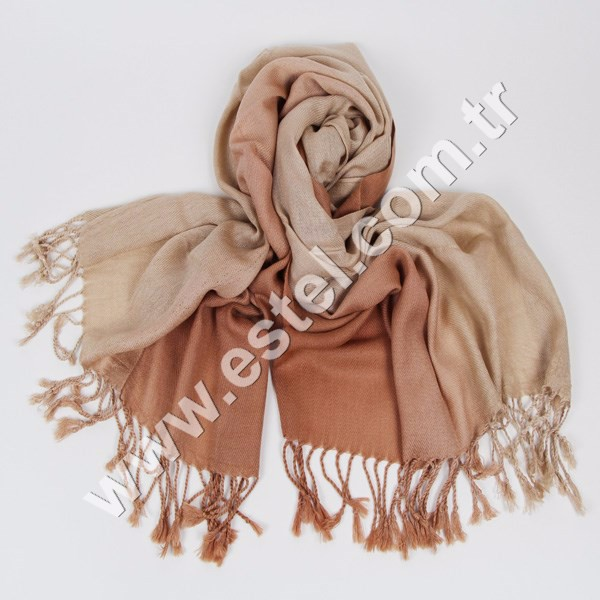 Beige and camel color pashmina scarf for women ESA-018