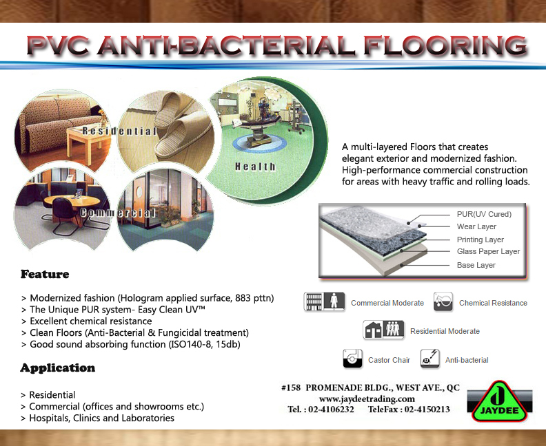 ANTI-BACTRIAL PCV VINYL SHEETS / HOSPITAL FLOORING