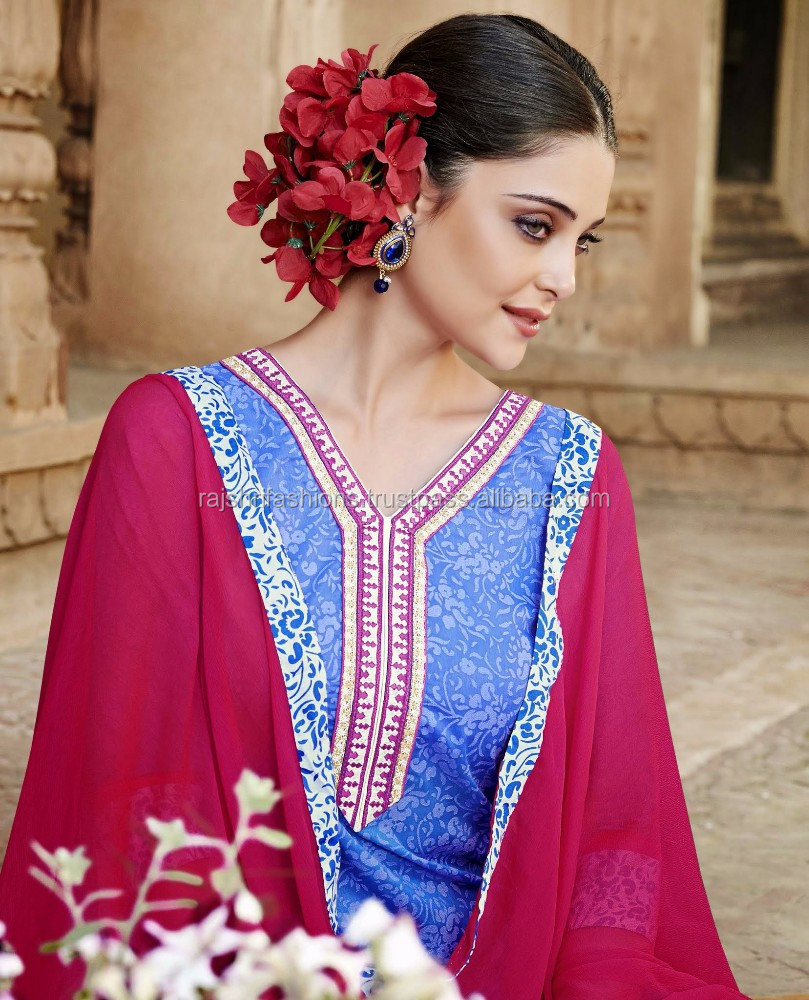 Blue Color With White Pink Zari Embridery Bottom & Neck Border Designer Daily Semi Stitch Salwar Kameez