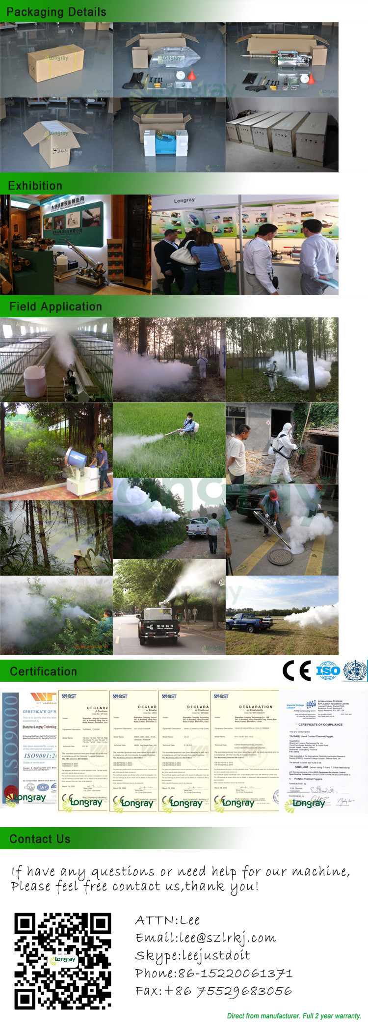 Longray TS-95 vehicle mounted thermal fogger and fogging machine
