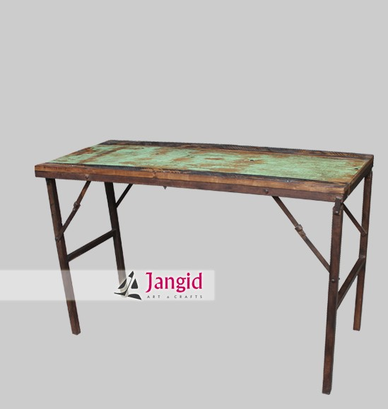 vintage restored folding tent table supplier / industrial iron and reclaimed wooden furniture