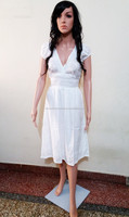 designer hot selling one piece gown / party wear white long dress / beach tunic