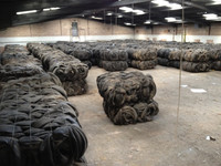 Baled waste tyres