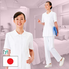 Comfortable nurse white uniforms with all necessary functions for daily use designed in Japan