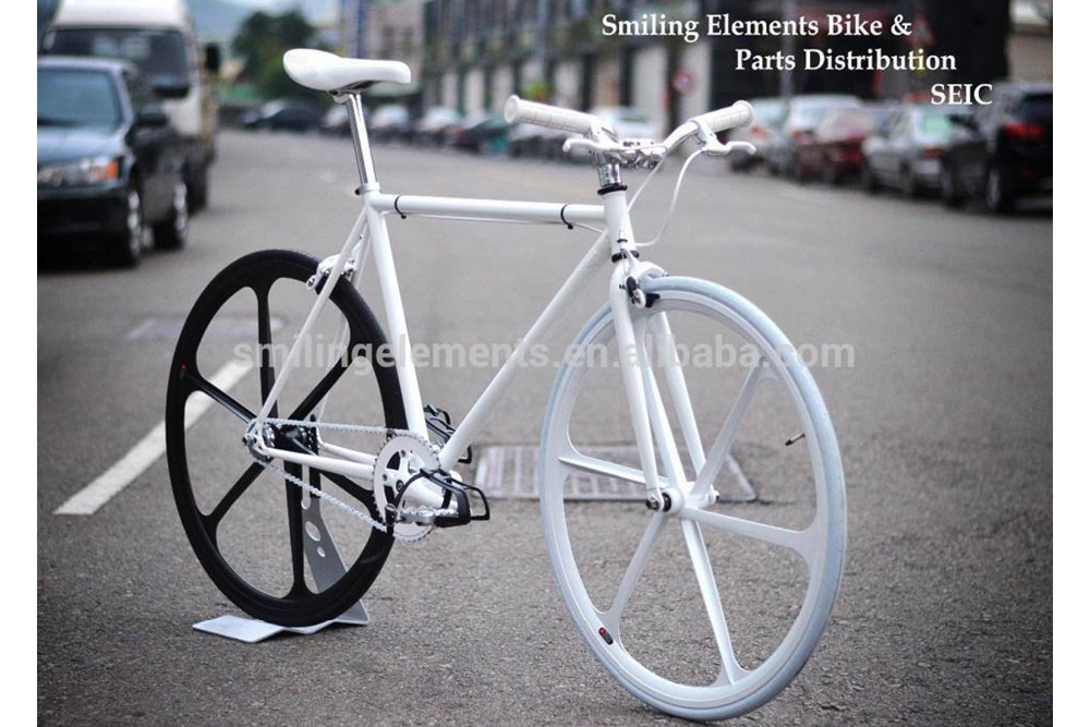 Fixed gear bicycle with aero six spoke wheels 700c