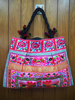 Thailand handmade festival hmong JUMBO Pom Pom fabric Tote Bag hmong hill tribe bags wholesale