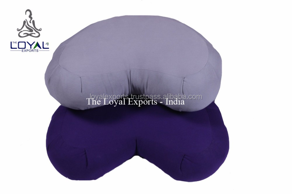Meditation Half Moon Shaped Ecological Cushion / Kapok Filled Fleeted Crescent Zafu / Yoga HM Zafu