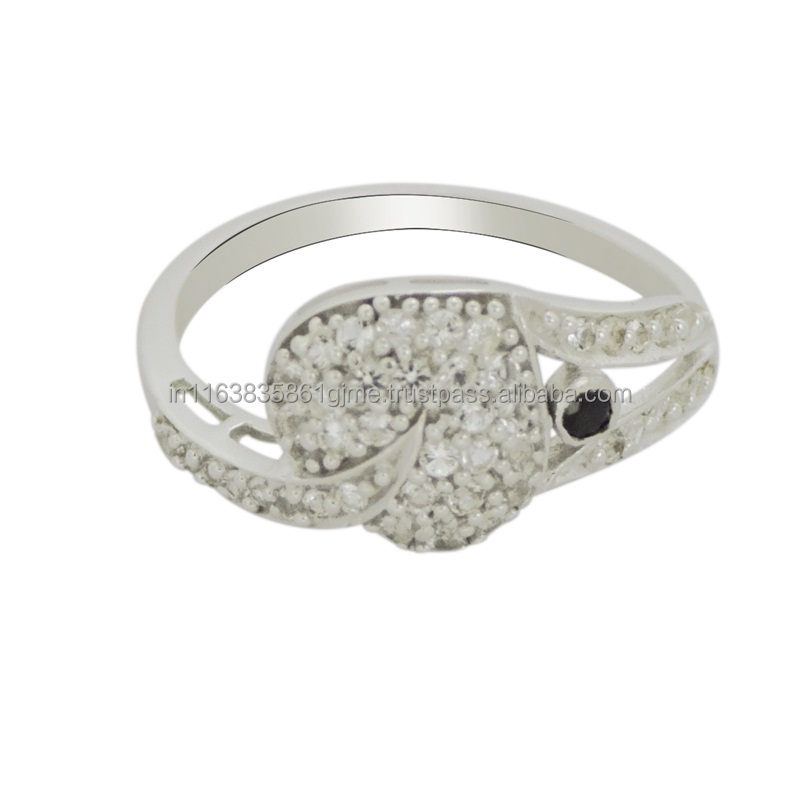 925 Sterling Silver White Topaz & Black Spinel Gemstone Ring, Fashionable Silver Ring