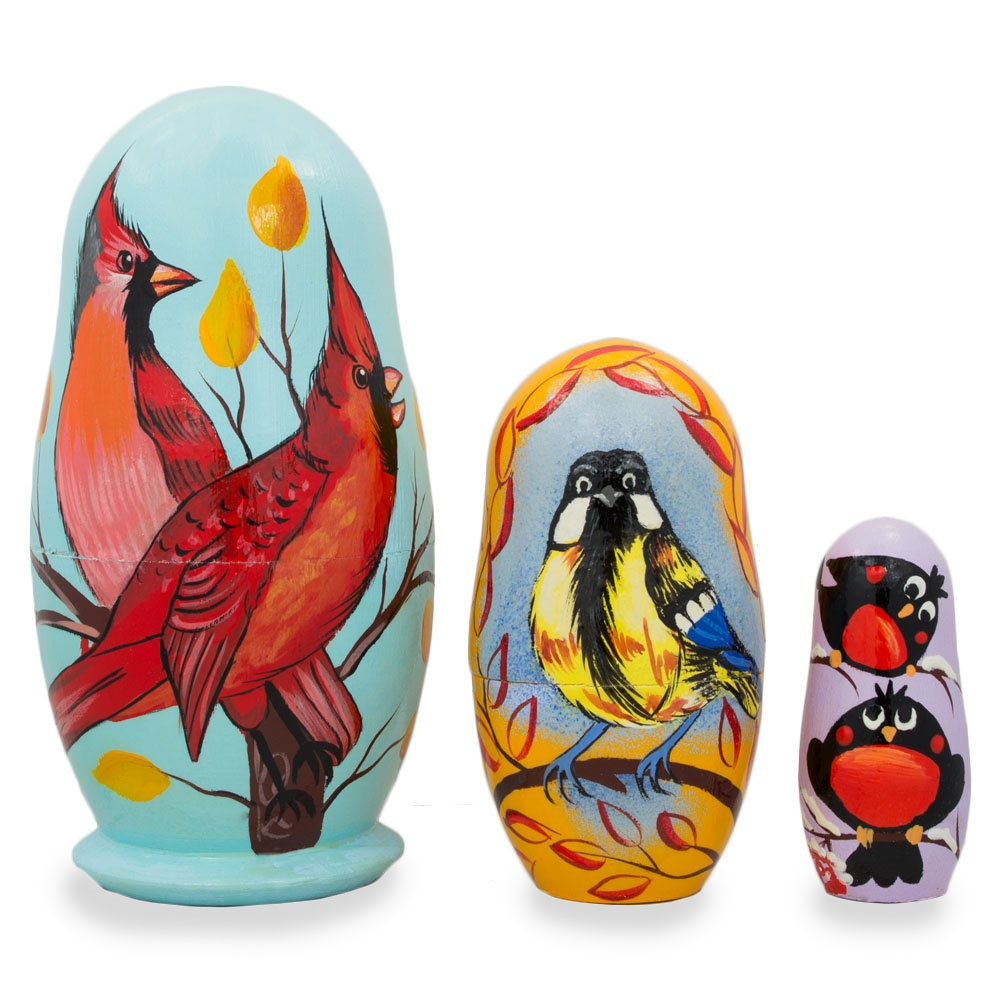 "4.25"" Set of 3 Birds- Cardinals, Finches Matryoshka Nesting Dolls"
