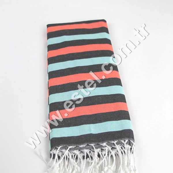 Black-Mint- Orange Cotton Fouta Pestemal Towel with White Tassels Africa Towel Direct From Manufacturer