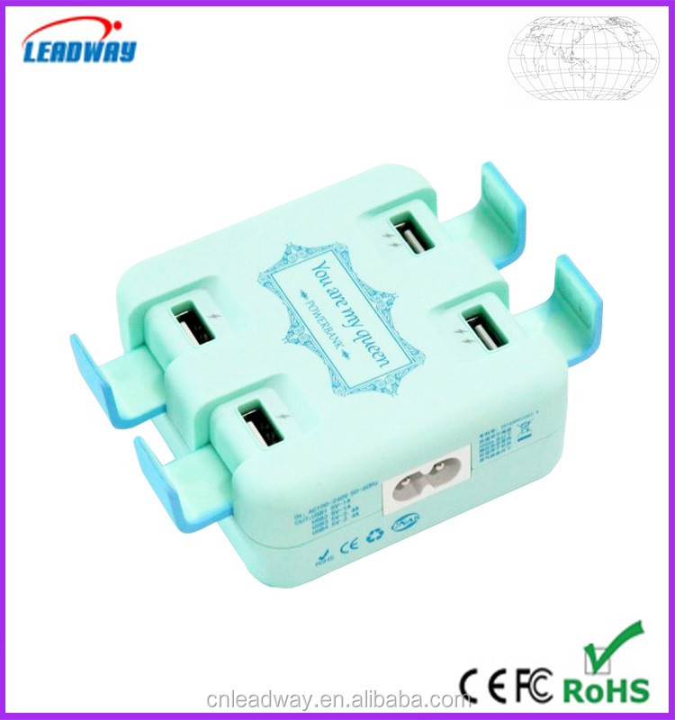 2016 new 5000mah power bank adapter,multifunctional ac100-240v 4 port usb power adapter ,socket ac/dc power adapter