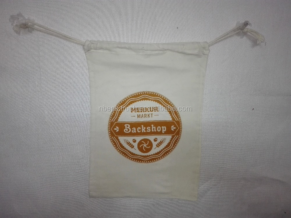 CUSTOM PRINTED COTTON DRAWSTRING BREAD BAGS