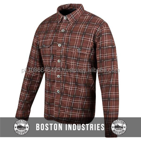 Custom Moto Shirt Fully Lined KEVLAR CE Armour Check Cotton Motorcycle Shirt