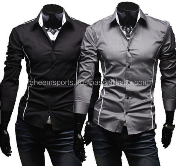Long Sleeve Casual Slim Fit Stylish Dress Shirts Black