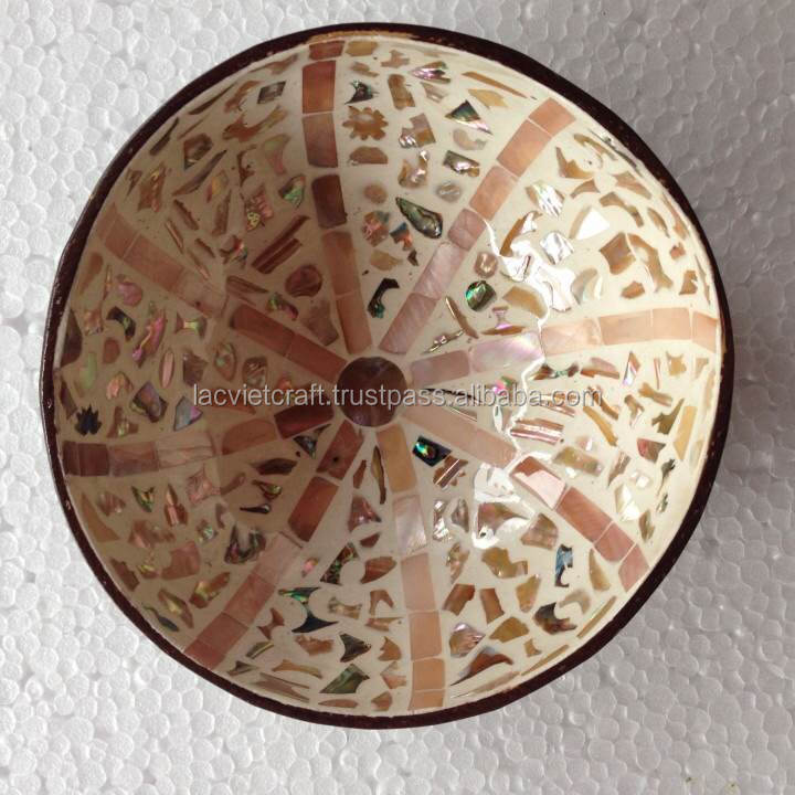 High quality eco friendly natural lacquer mother of pearl inlay coconut bowl from Viet Nam