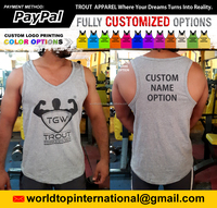2016 Top Design V Shape Gym Tank Top Bodybuilding Stringer Tank Tops Custom Workout Fitness Singlet