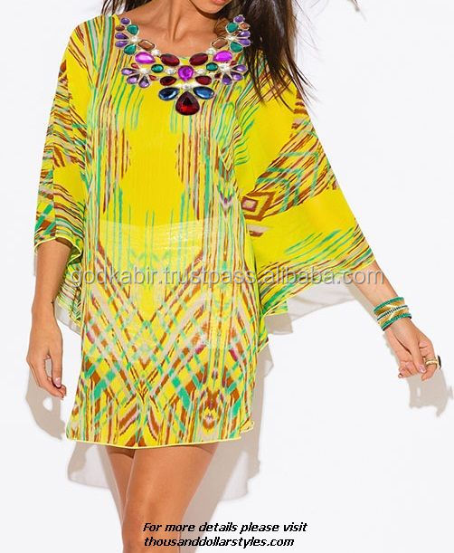 New Arrival Jewel Toned Natural Gemstone Embellished Stylish Multicolor Highly Fashioned Party Wear Women Kaftan/Tunic Dress