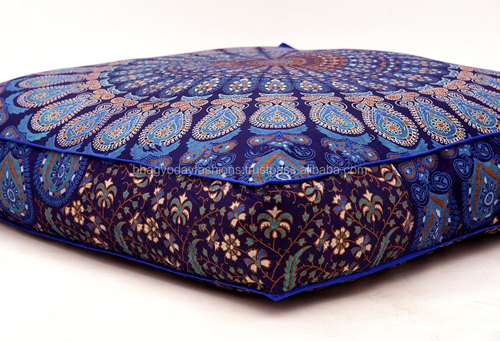Indian Mandala Floor Pillow Square Ottoman Pouf Meditation Floor Cushion Handmade Lounge Seating Pouf Pillow Cover