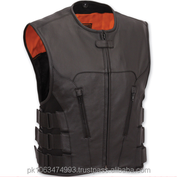FMC Mens Black Leather The Commando Motorcycle Biker Scooter Vest Size S-8XL