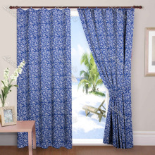 Home Decorative Door Decor Drapery Panel Blue Hand Block Printed Curtains