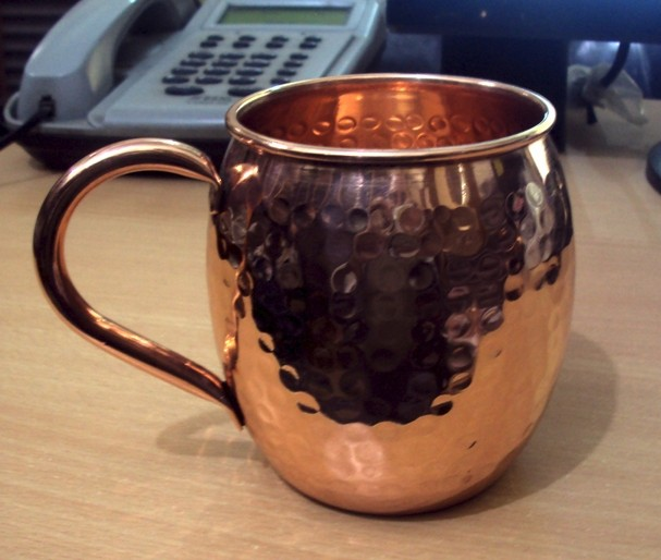 FOOD SAFE LACQUER LINED FDA APPROVED 100% PURE COPPER BARREL HAMMERED MOSCOW MULE MUG WITH COPPER HANDLE