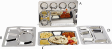 Stainless Steel Rectangular Divided Dinner Tray