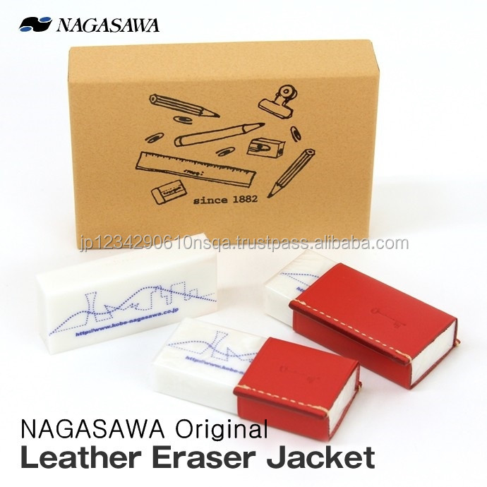 Japanese brand Nagasawa's rubber eraser with leather sleeve
