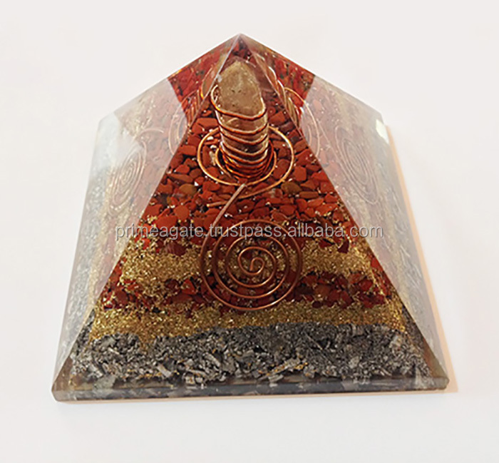 Powerful Red Jasper Orgonite 5INCH Big Size Pyramid With Crystal Point : Wholesale Orgonite Crystals