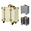 airport luggage suitcase wheels wholesaler case travelling vintage carry box PU lather carry bag travel suitcase vintage trolley