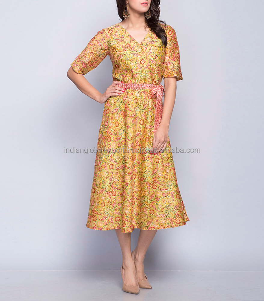 Silk Cotton Printed Overlap Neck Dress For Girls