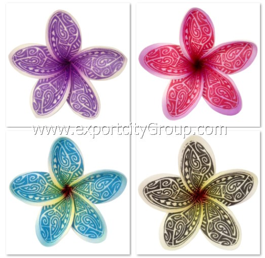 Hawaiian Foam Flower Plumeria Tribal Tattoo Print (KA) 4 inch 10 colors