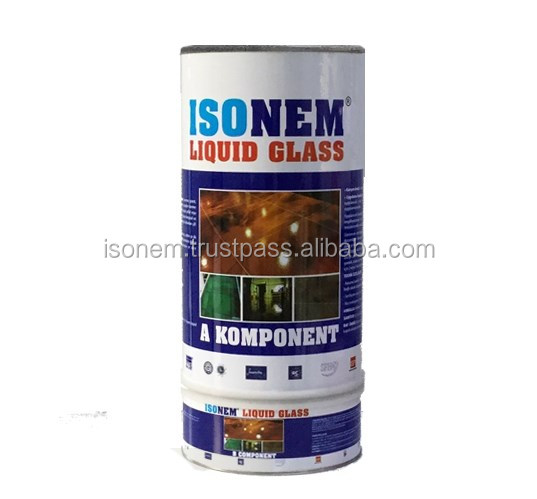 ISONEM LIQUID GLASS, TRANSPARENT CLEAR VARNISH, TWO COMPONENT, GLOSSY, WET LOOK APPERANCE