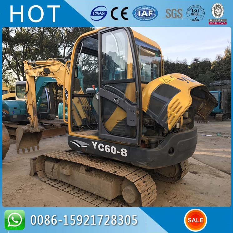 Chinses Manufacturer YC60-8 / 6 Ton Capactiy Yuchai Used Excavator With Close Cab