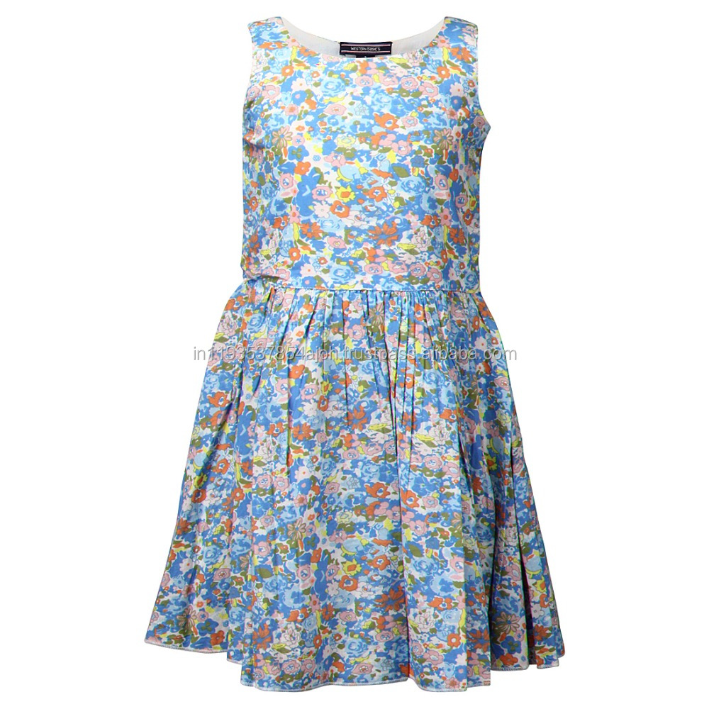 Sky Blue Flowers Print Cotton Girls Dress western basic's-2014-P
