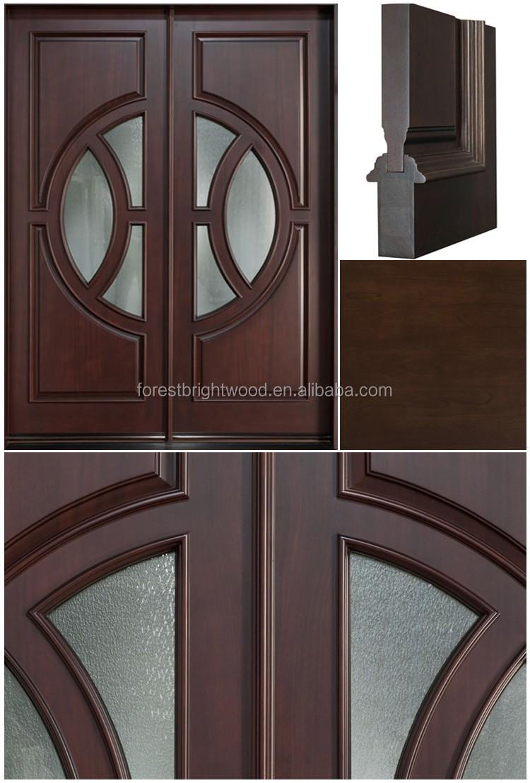 Custom exterior hardwood main door designs double door for Decorative main door designs