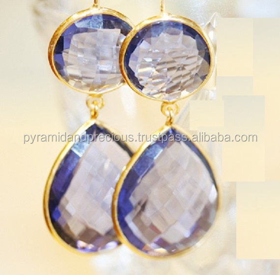 Gold Plated Sterling Silver Amethyst Quartz Gemstone Bezel Set Earring - Gemstone Earring